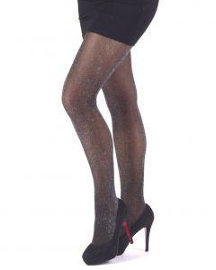 Glitter panty zwart met lurex glitters